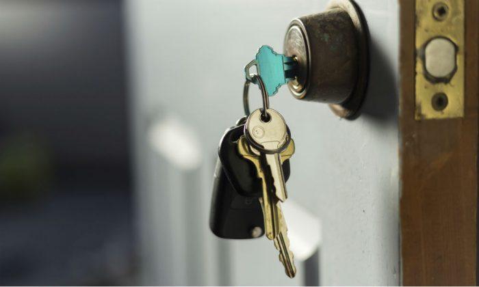 House keys securing a door