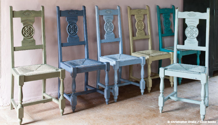 Painted chairs from Annie Sloan's Coloured Recipes for Painted Furniture | Hiscox Cover Stories