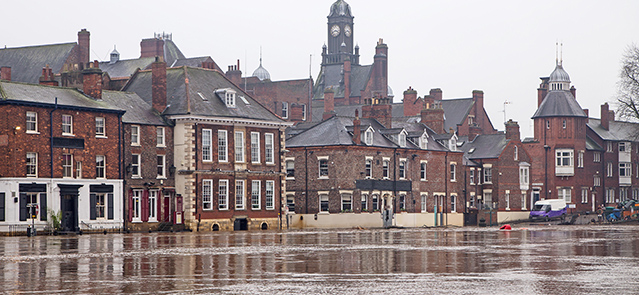 York Floods 2015; buildings flooded by the high water. Image shot 12/2015. Exact date unknown.