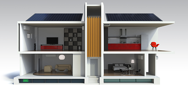 Illustration of energy efficient house,support by energy saving appliance, solar panels, home battery system.