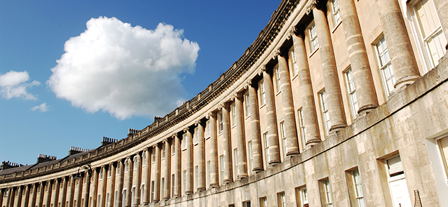The Royal Crescent, Bath City, Somerset. Date August 2009