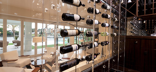 Modern wine storage shelves, found in a living room of a moden house