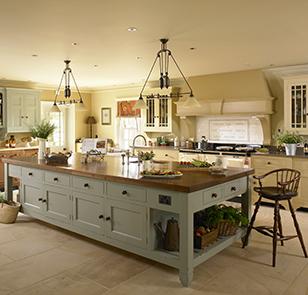 A large kitchen island unit.