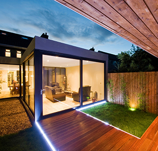 Modern Contemporary Home at Night-time. Image shot 2010. Exact date unknown.