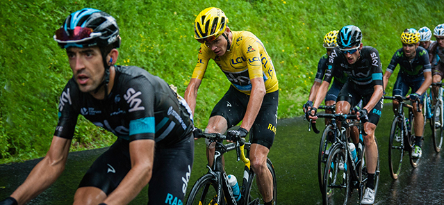 Chris Froome 4 km from the Col de Joux Plane. Stage 20 of 2016 Tour De France.