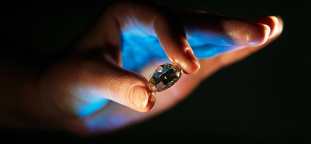 A model displays a diamond believed to be the world's biggest coloured Forevermark diamond in Mumbai September 30, 2008. The 42.02 carat diamond will be auctioned at India's first online auction of jewellery at an estimated starting price of $606,745 acco