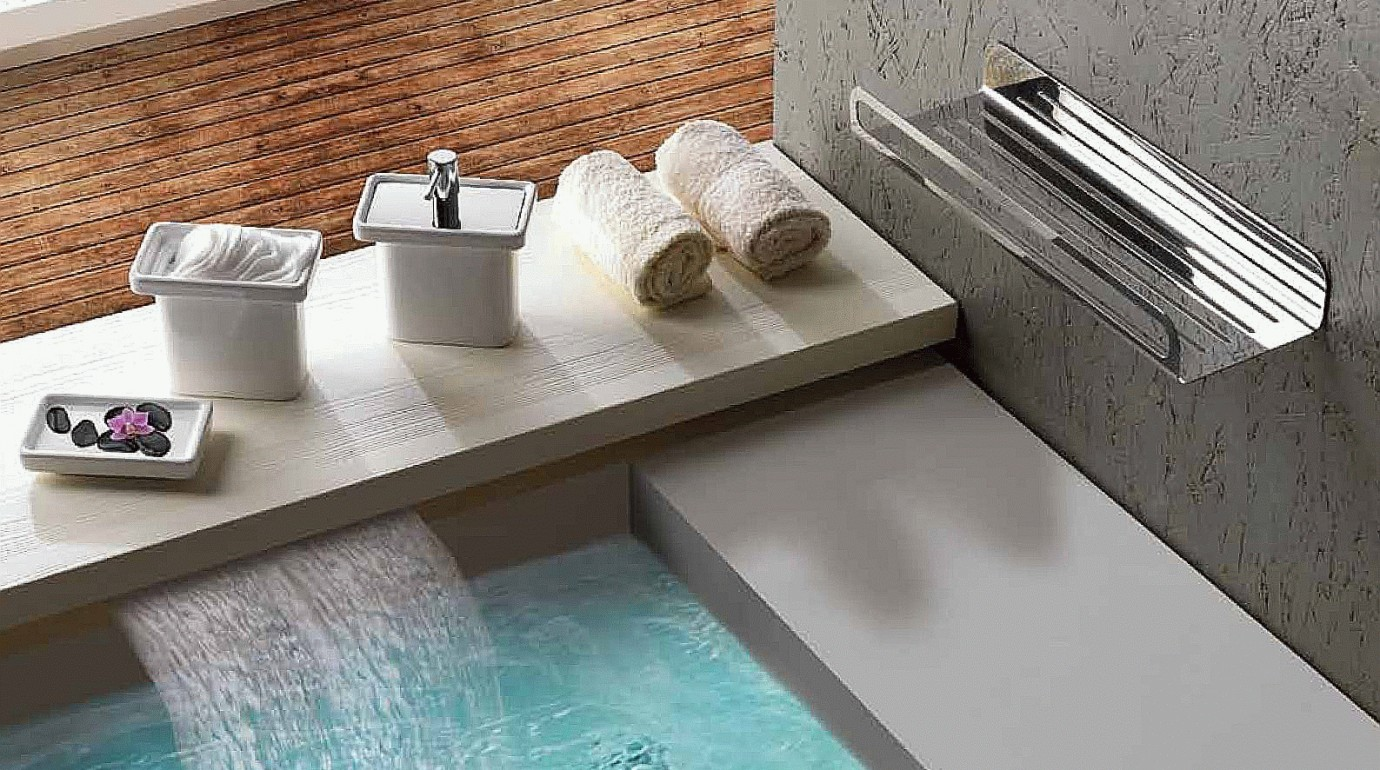 modular contemporary bath has with a concealed waterfall tap