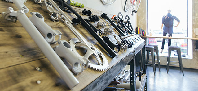 Bicycle components in a store