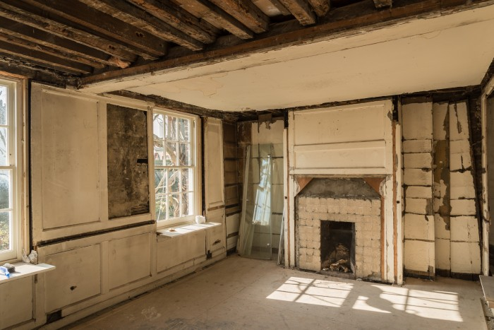 Holly Cottage in Hampstead, First-Floor front room, after Phase I strip-out