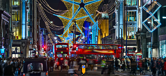 Oxford Street, London, England, UK, with Christmas lights at night