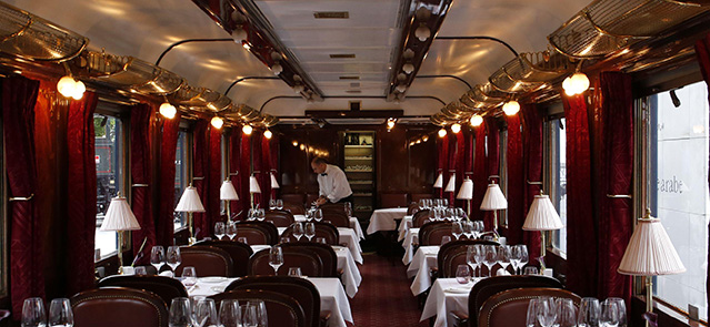 France, Paris, Institute for the arabic world, exhibition Orient Express vintage luxury trains