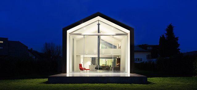 GWHE23 Exterior of a modern house, night scene