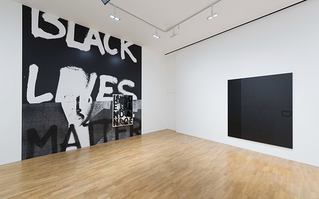 Adam Pendleton, New Works, 2015. From left: Black Lives Matter (wall work) #2; Magicienne #2; Black Dada/Column (D)