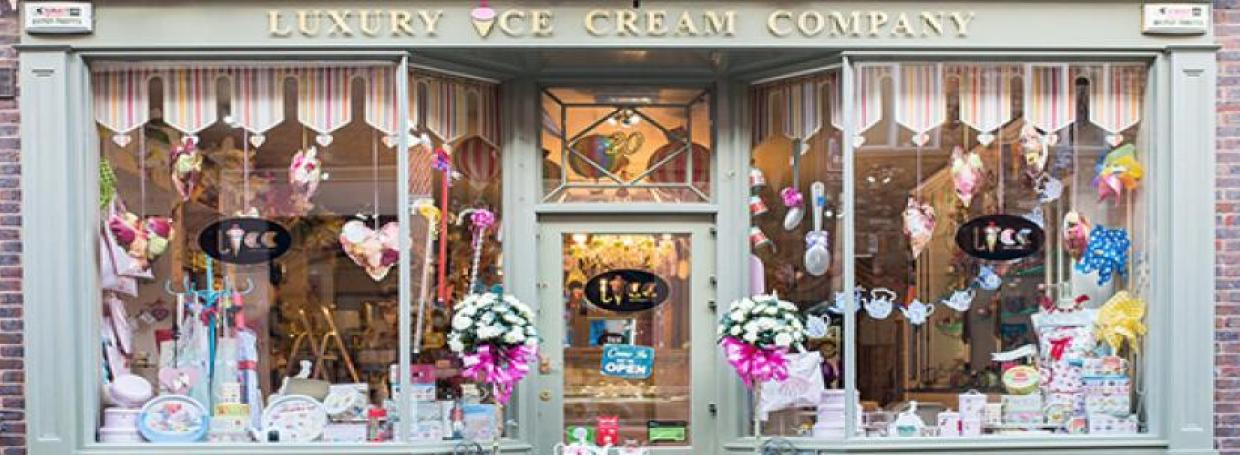 shop front of the Luxury Ice Cream Company in York
