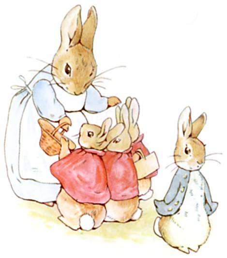 Peter Rabbit and family illustration