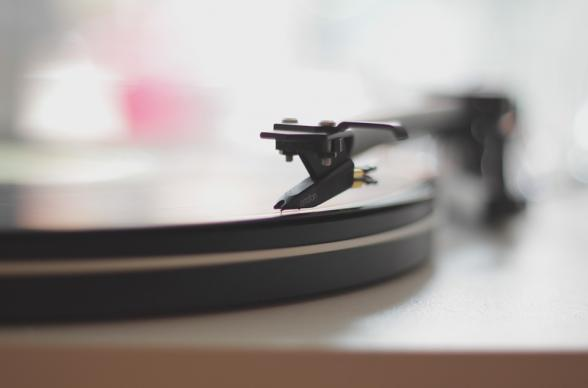 Vinyl record player close up